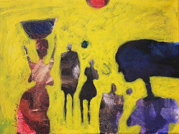 Abstract Painting - Going To Souq 1  by Islam Kamil