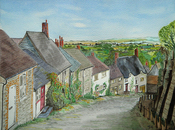 Watercolour Painting - Gold Hill  Shaftesbury by Yvonne Johnstone