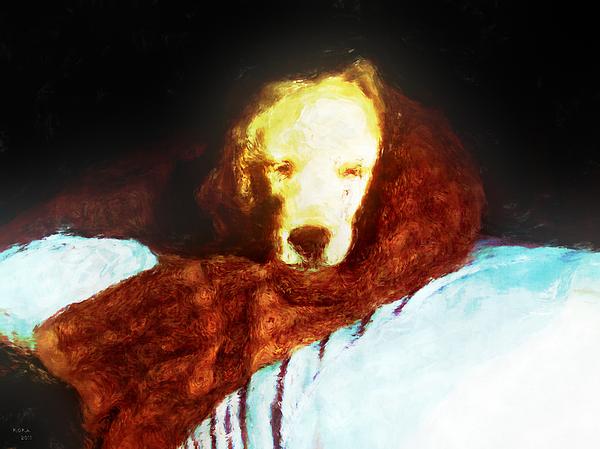Dog Digital Art - Golden Aura by Rora