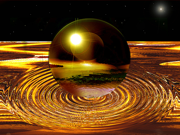 New Age Digital Art - Golden Boll by Aline Pottier  Gama Duarte