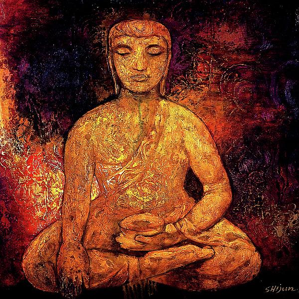 Golden buddha painting by shijun munns for Buddha mural paintings