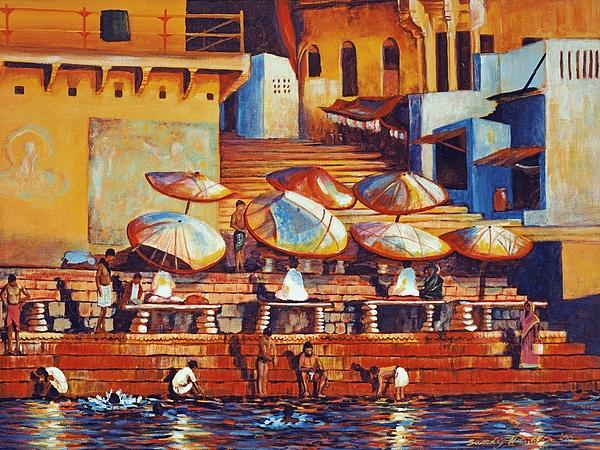 Realist Painting - Golden Ganges by Art Nomad Sandra  Hansen