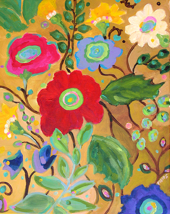 Flowers Painting - Golden Garden by Karen Fields