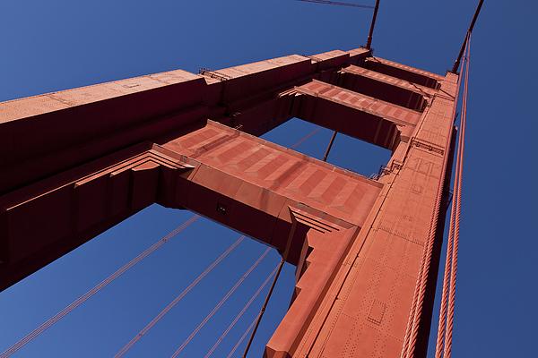 Golden Gate Bridge Tower Blue Sky Photograph - Golden Gate Bridge At An Angle by Garry Gay