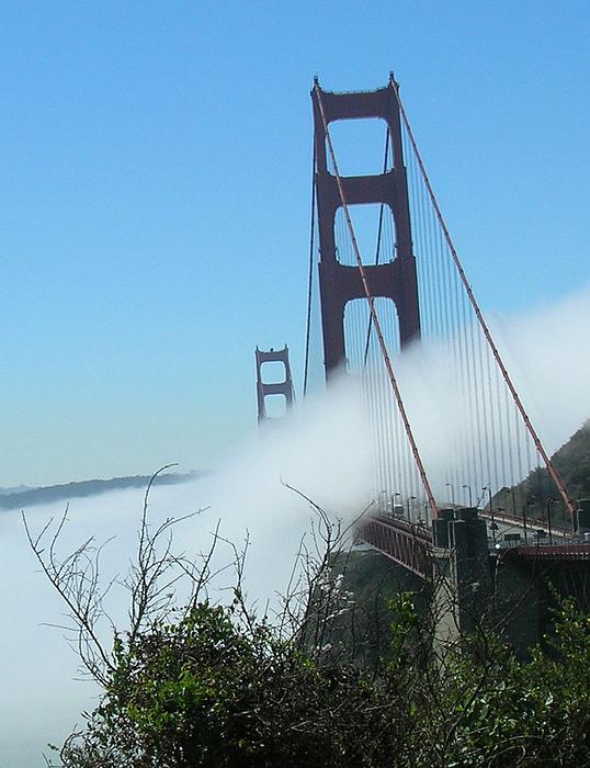 Golden Gate Bridge Photograph - Golden Gate Bridge Towers In The Fog by Bonnie Muir
