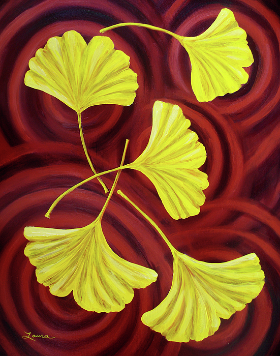 Golden Ginkgo Leaves On Burgundy Painting by Laura Iverson