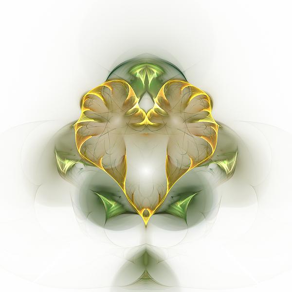 Fractal Digital Art - Golden Heart by Richard Ortolano