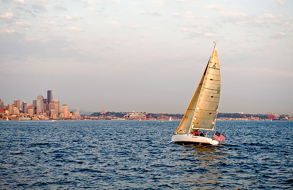 Seattle Photograph - Golden Light Sails by Tom Dowd