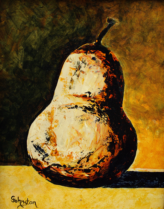 Pear Painting - Golden Pear by Cindy Johnston
