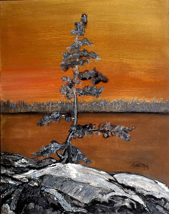 Pine Painting - Golden Pine by Anne-D Mejaki - Art About You productions