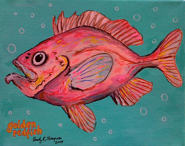 Golden Redfish Painting by Emily Reynolds Thompson