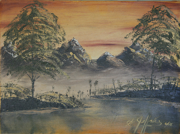 Landscape Painting - Golden Sunset by Gregory Jeffries