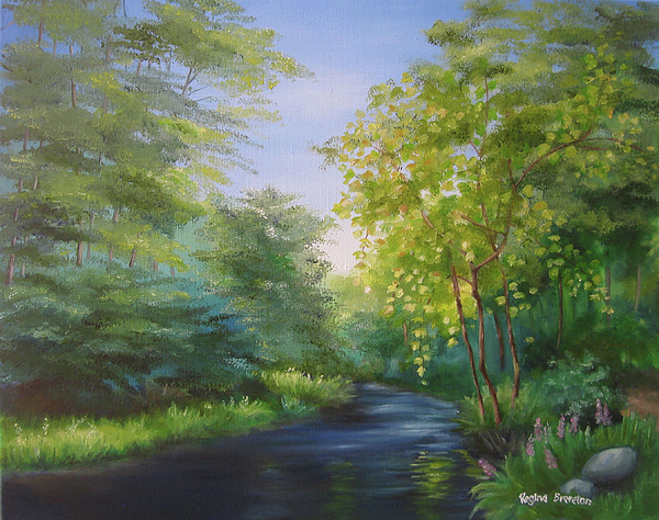 Irish Landscape Painting - Goldenstream by Regina Brereton