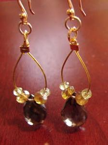 Yellow Gold Jewelry - Goldie Smoky Topaz And Green Garnet Earrings by MIchelle LaCoille