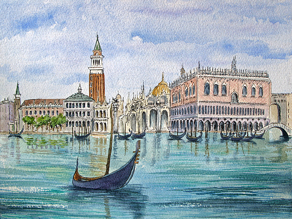 Gondolas Painting - Gondolas Near Piazza San Marco In Venice Italy by Bonnie Sue Schwartz