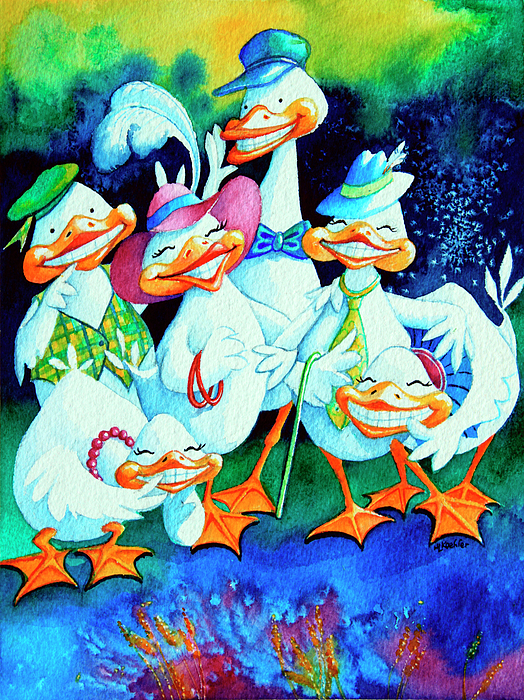 Easter Card Painting - Goofy Gaggle Of Grinning Geese by Hanne Lore Koehler