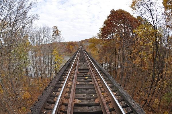 Bridge Photograph - Goose Hollow Train Bridge by Jon Benson