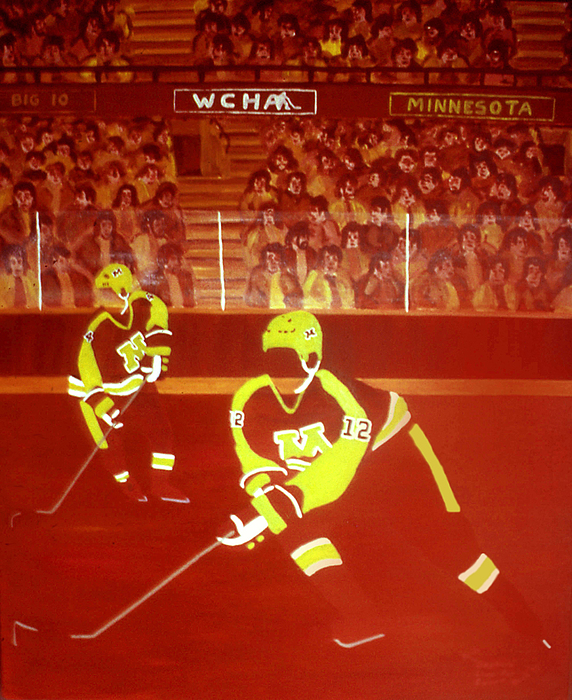 Hockey Painting - Gophers by Ken Yackel