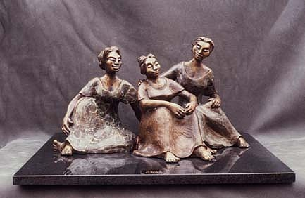 Group Of Women Talking Sculpture - Gossip by Shohini Ghosh