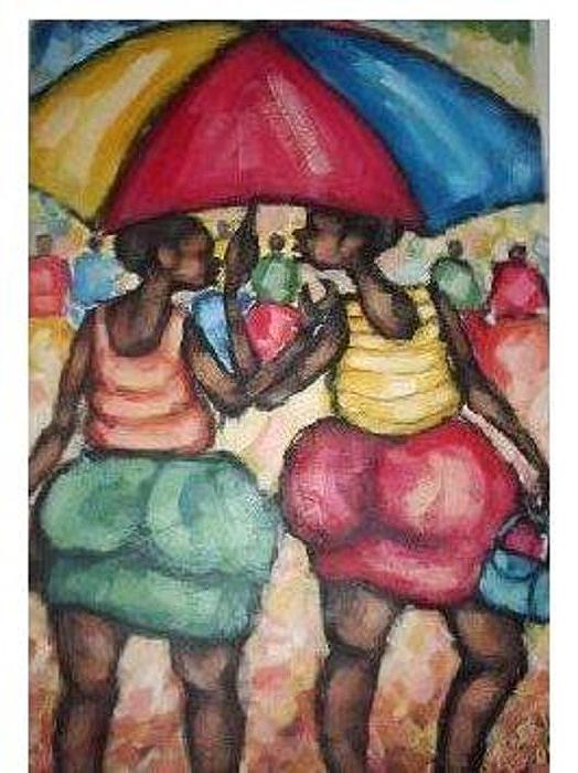 Landscape Painting - Gossiping Girls by Albert Moyo