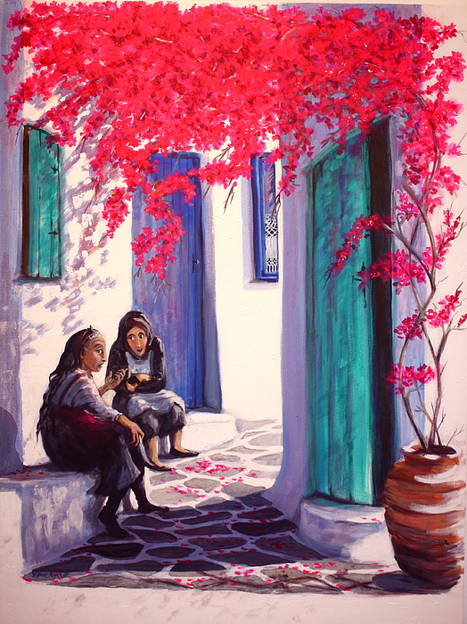 Greece Painting - Gossips by Yvonne Ayoub