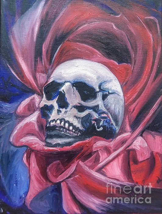 Skull Painting - Gothic Romance by Isabella F Abbie Shores