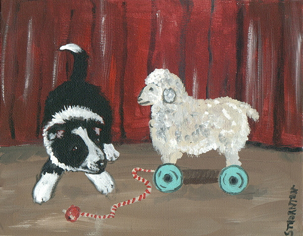 Border Collie Painting - Gots Me A Sheepie by Sue Ann Thornton