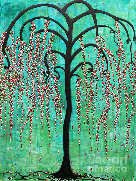 Willow Tree Mixed Media - Graceful Willow Print by Natalie Briney