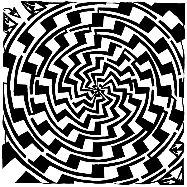 Gradient Drawing - Gradient Tunnel Spin Maze by Yonatan Frimer Maze Artist
