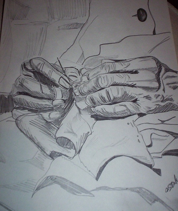 Granmas Hands Drawing by Otis L Stanley