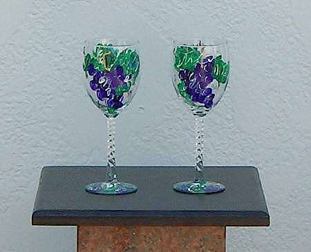 Glasses Glass Art - Grape Pattern Wine Glasses by Lois Niesen