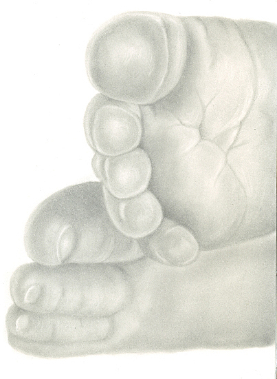 Graphite Drawing - Graphite Newborn Baby Feet by Tracey Costescu