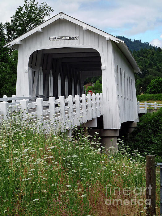 Grave Creek Covered Bridge Photograph - Grave Creek Bridge by Methune Hively