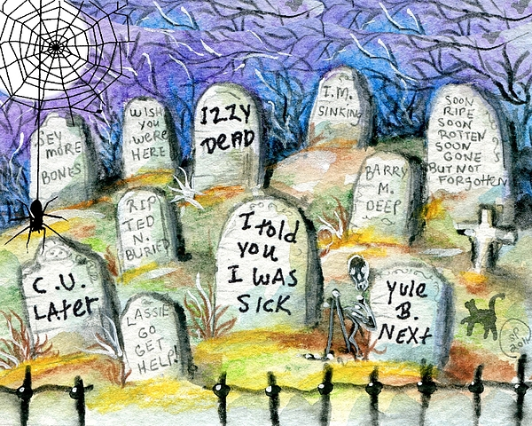 Halloween Painting - Grave Yard by Sylvia Pimental