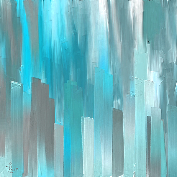 Gray and teal abstract art is a painting by lourry legarde which was