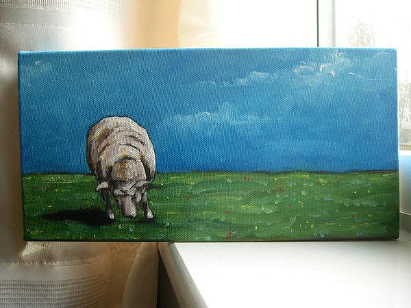 Sheep Painting - Grazing Sheep by Tara Lewis