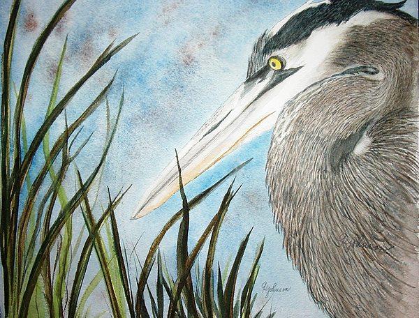 Great Blue Heron Painting by Georgia Johnson