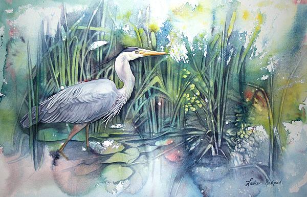 Heron Painting - Great Blue Heron by Leslie Redhead