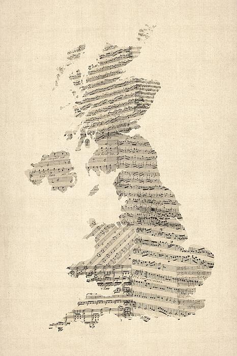 Uk Map Digital Art - Great Britain Uk Old Sheet Music Map by Michael Tompsett