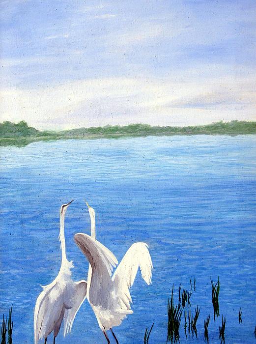 Wildlife Painting - Great Egrets by Lauretta Cole Larsen