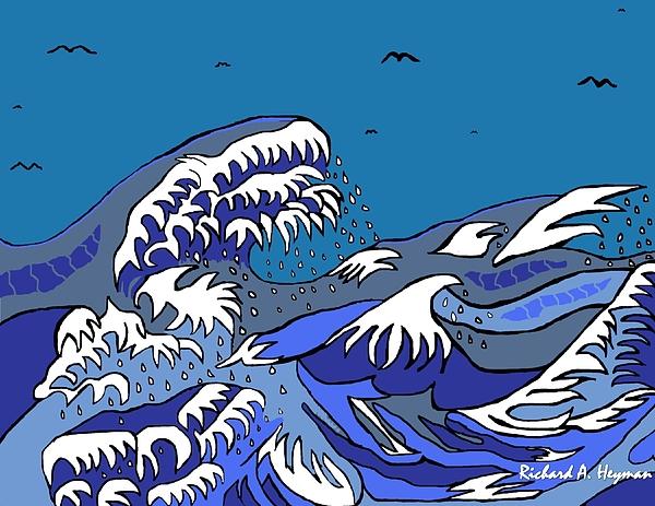 Japan Drawing - Great Wave 2011 by Richard Heyman