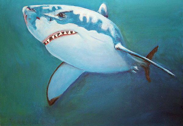 Great White Painting - Great White 3 by Terry Lewey