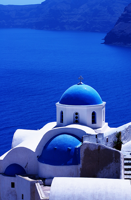 Santorini Photograph - Greek Blue Vertical by Paul Cowan