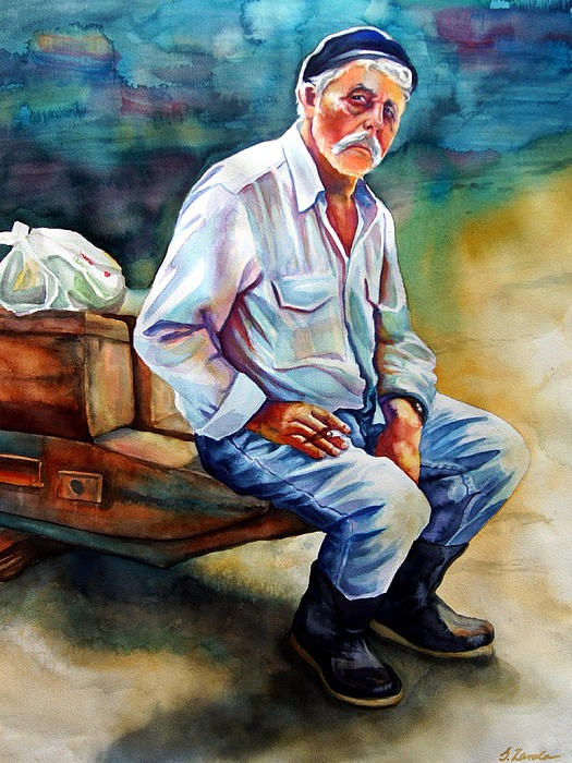 Portrait Painting - Greek Fisherman by Gail Zavala