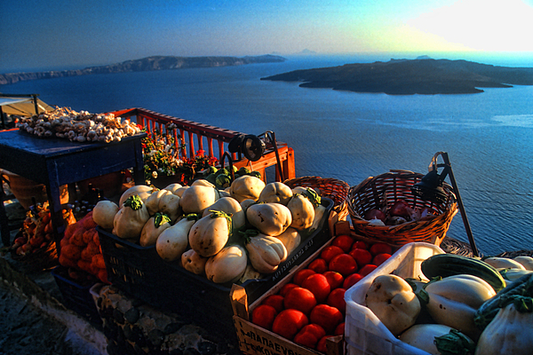 Europe Photograph - Greek Food At Santorini by David Smith