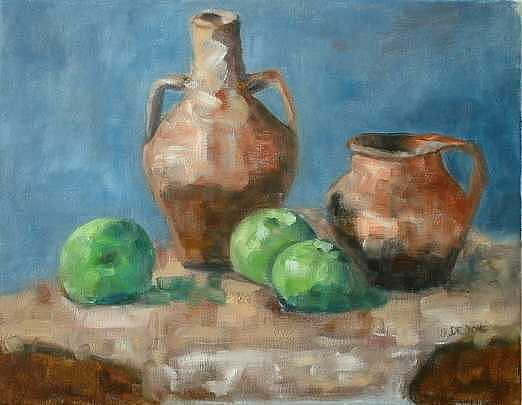 Apples Painting - Green Apples by Glynis Berger
