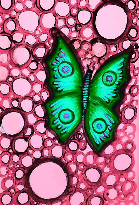 Green Painting - Green Butterfly by Brenda Higginson