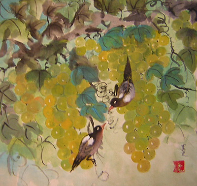 Water Colour Painting - Green Grapes And Brown Birds by Lian Zhen