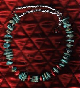Native American Jewelry - Green Nevada Turquoise And Coral Choker by White Buffalo