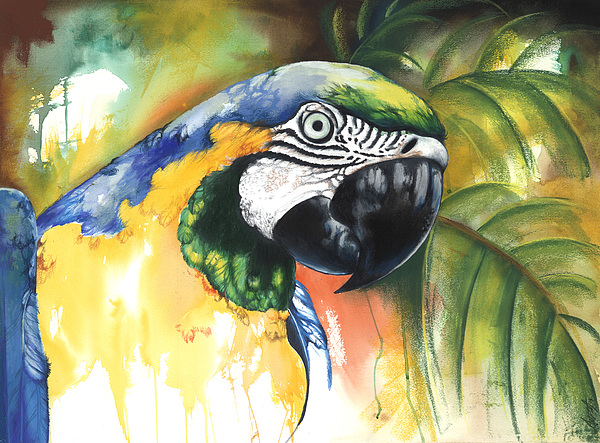 Green Parrot Mixed Media - Green Parrot by Anthony Burks Sr